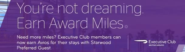 British Airways is offering bonus Avios for Starwood Hotel stays