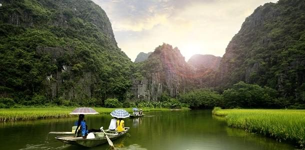 Tourist boat most popular place in Vietnam.