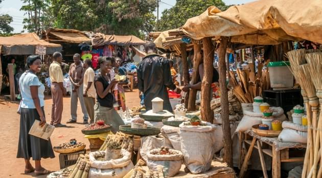 A Zambian market near Victoria Falls