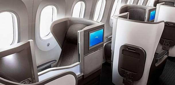 The view of 787 Club World (business class)
