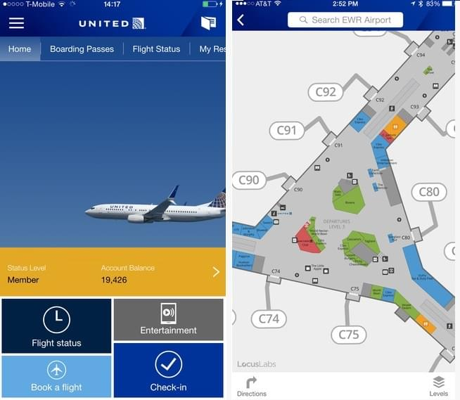 The United app includes airport maps, flight status and booking options