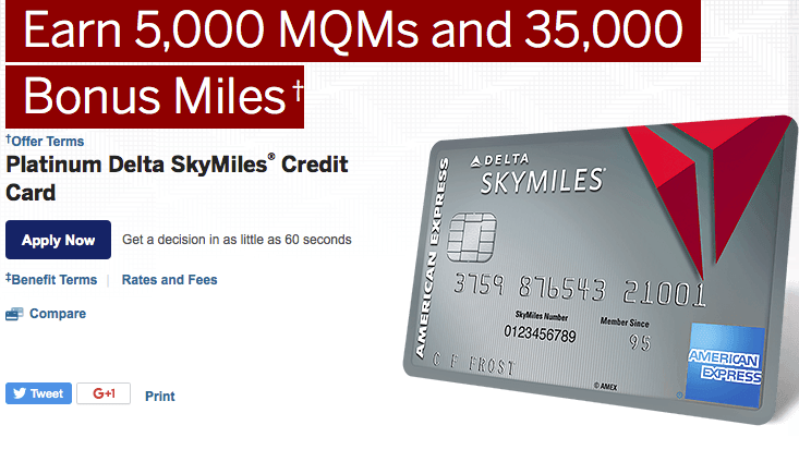 The Platinum Delta SkyMiles card's sign-up bonus includes elite status qualifying miles