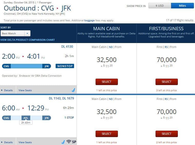 Delta-CVG-JFK-Miles