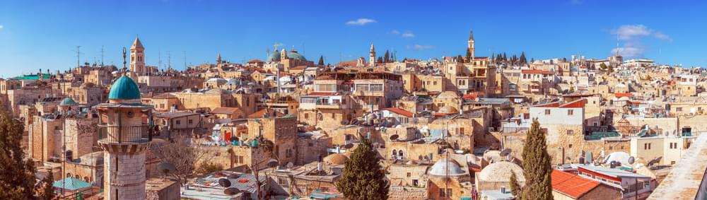 Panorama of Jerusalem Old City with Church of the Holy Sepulchre