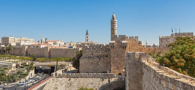 Ancient walls and old Tower of David in Jerusalem, Israel