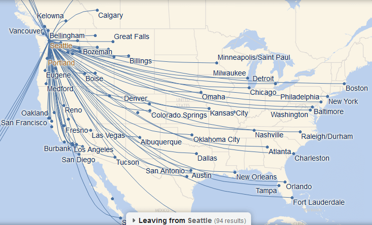 Some of the destinations served by Alaska's hub in Seattle