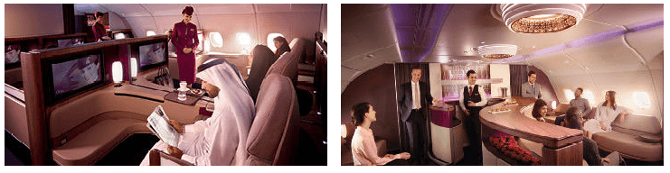 Qatar Airways first class cabin and lounge