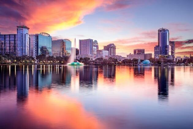 Orlando's skyline and Lake Eola Park