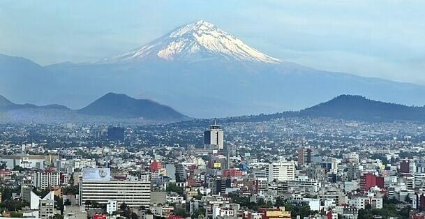 Popocatepetl volcano can be seen fromMexico City