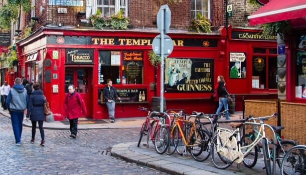Explore the cobble stone streets of Temple Bar in Dublin