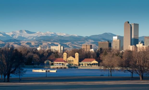 The Denver skyline from City Park