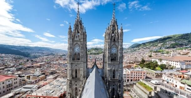 The towers of the basilica in Quito