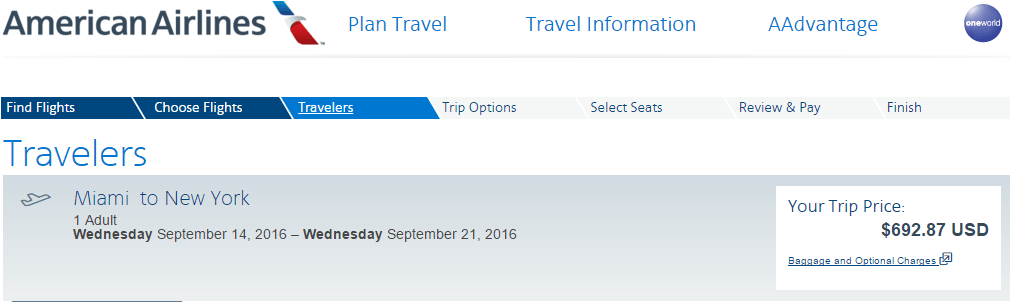 American Airlines ticket price