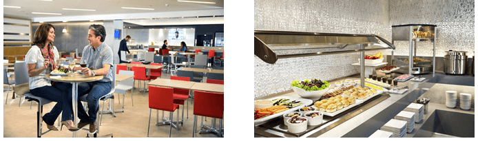 Seating options and buffet of food selections in the Admirals Club