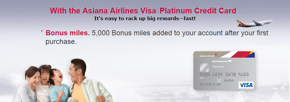 The Asiana Visa Business card comes with a 10,000-mile sign-up bonus
