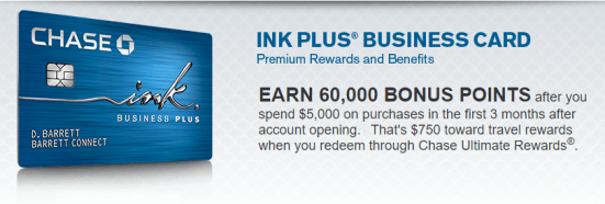 At 60,000 points, Chase Ink Plus has one of the largest sign-up bonuses available