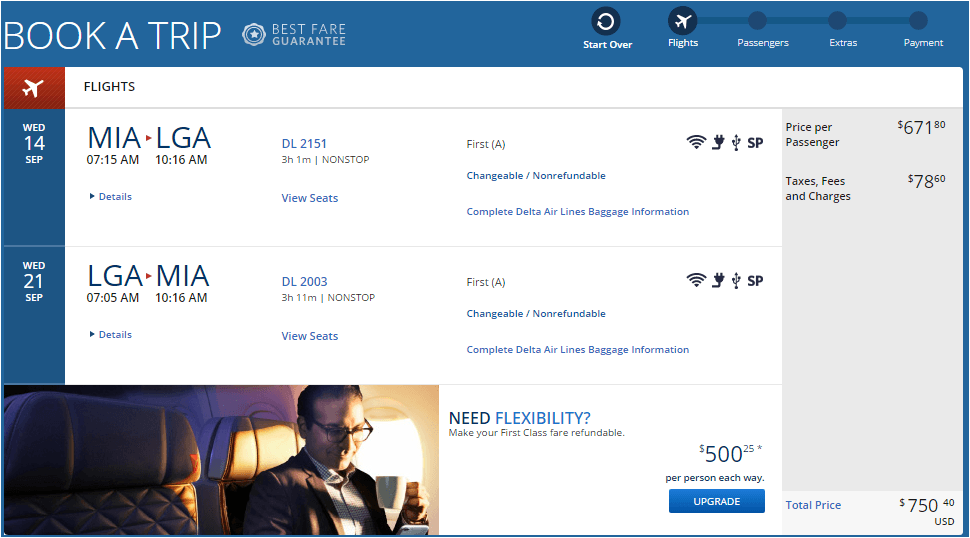 Delta Airlines ticket price
