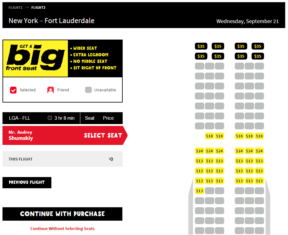Spirit air big front seat is the airline s first class for Spirit airlines ticket prices