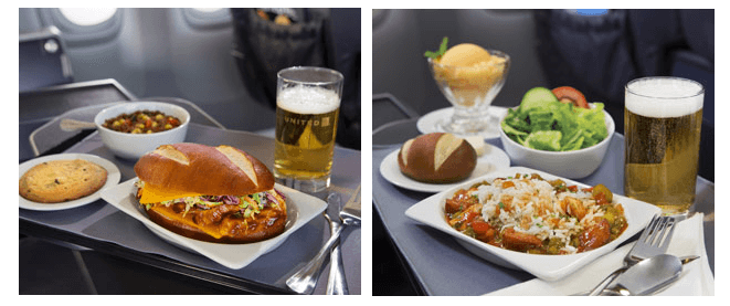 United Airlines premium dining menu