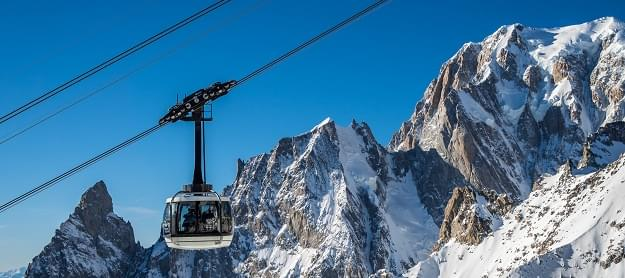 Cabin of the aerial cableway on the Mont Blanc massif in Italy