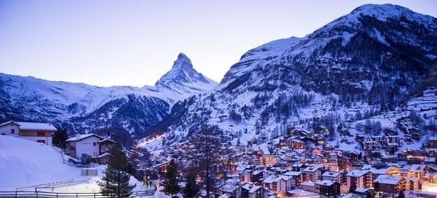 View of the ski resort Zermatt, Switzerland