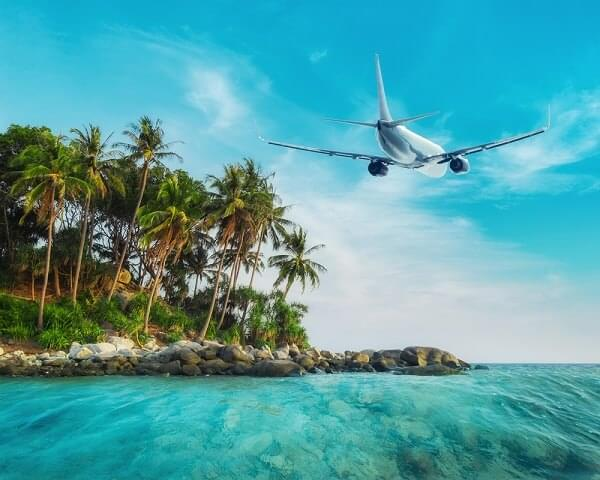 Caribbean islands airplane