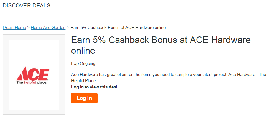 Earn 5% cash back for buying at Ace Hardware store on the Discover Deals portal