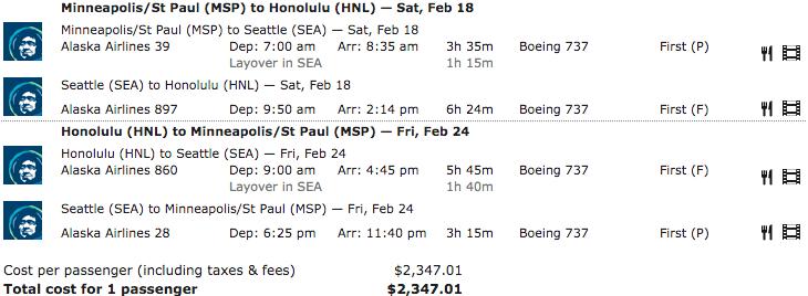 Alaska Airlines MSP-HNL