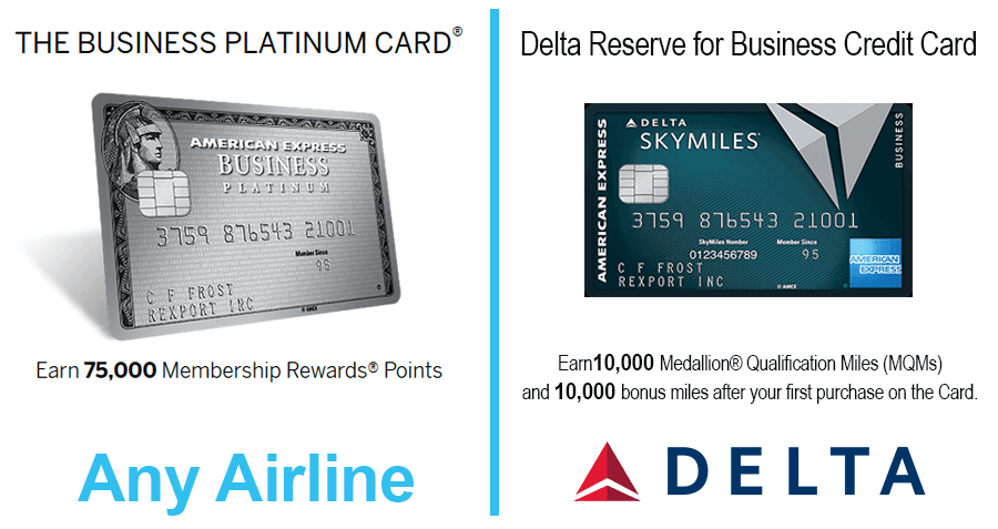 Airline and business credit cards with 50000 mile sign up bonuses business platinum card from american express and delta reserve for business colourmoves