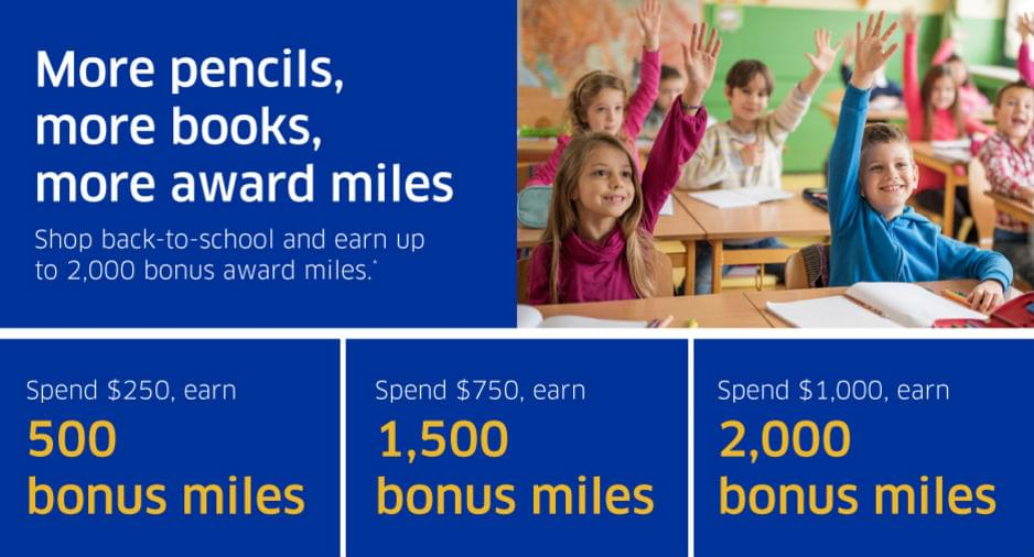 Buy school supplies at the MileagePlus Shopping portal for bonus miles