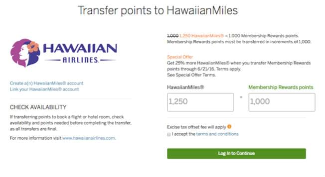 transfer points to hawaian miles