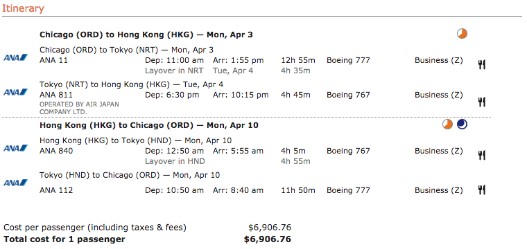ANA business class ticket from Chicago to Hong Kong
