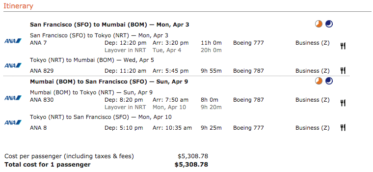 ANA business class ticket price from San Francisco to Mumbai