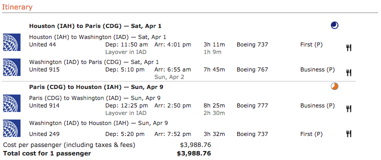 Redeem 88,000 miles to fly to Paris in the United Airlines business class