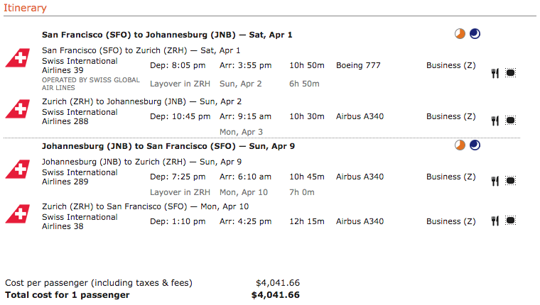 Business class ticket price from San Francisco to South Africa