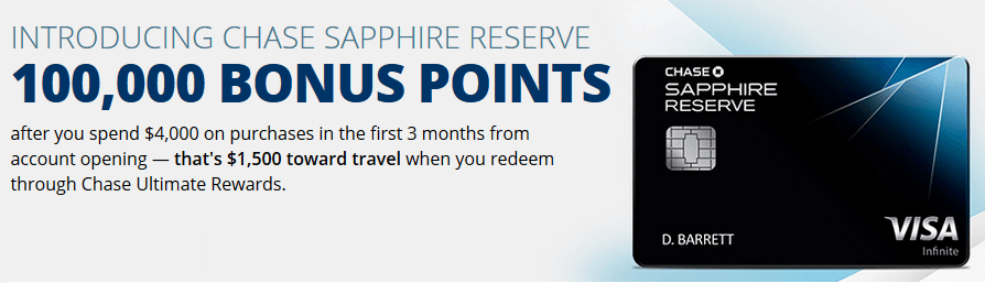 Chase Sapphire Reserve credit card generous sign-up bonus