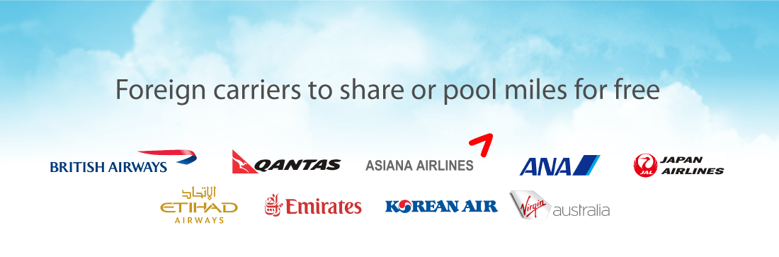 Foreign carriers that allow to share miles for free