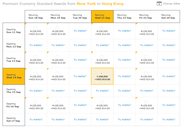 Premium Economy Standard Awards from New York to Hong Kong
