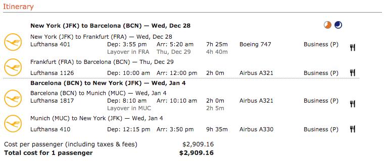 Lufthansa itinerary 5