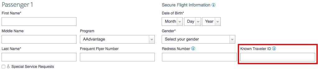 TSA PreCheck KTN field
