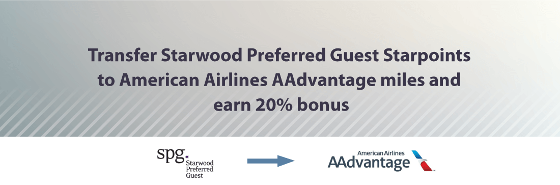 Transfer Starwood Points to American and earn 20% bonus