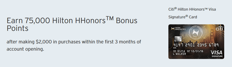 citi hilton hhonors card sigh up bonus