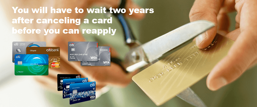 Wait two years after canceling a card before you can reapply