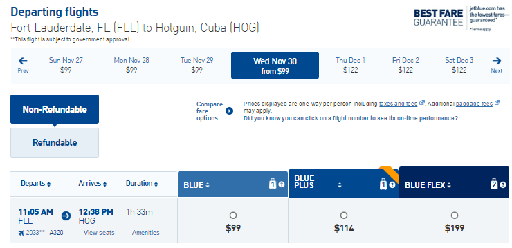 Fort Lauderdale - Holguin, Cuba ticket price