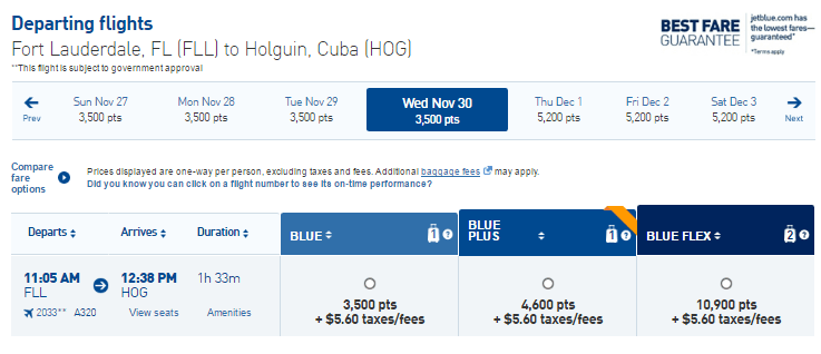 Fort Lauderdale - Holguin, Cuba ticket price in points