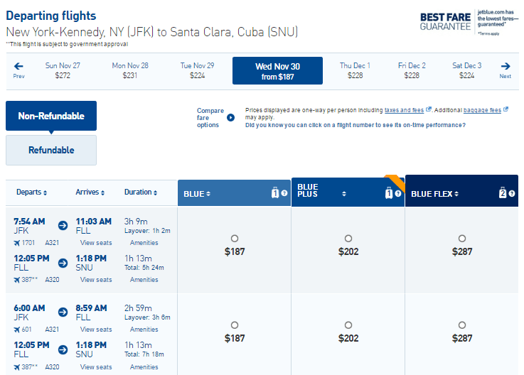New York - Santa Clara, Cuba ticket price