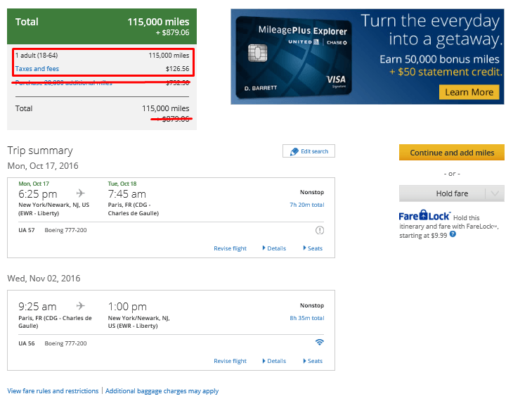 The same flight on the United website is much better