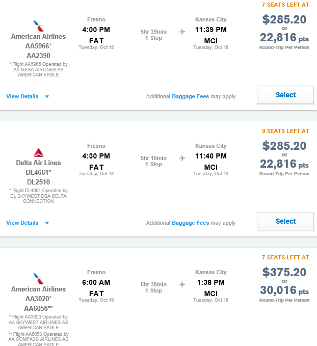 Cheapest fares on the Ultimate Rewards website to fly between Fresno and Kansas City