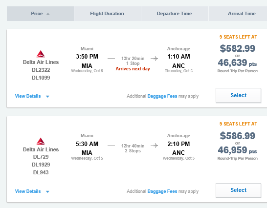 A flight cost between Miami and Anchorage on the Ultimate Rewards website