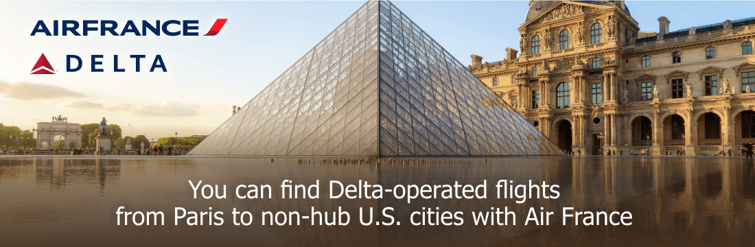 Find Delta operated-flights from Paris to non-hub U.S. cities with Air France
